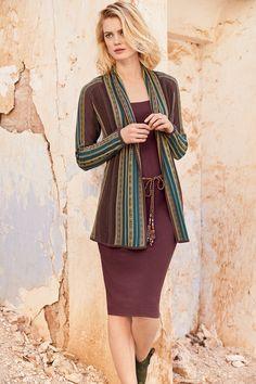 Love this pairing! Chicón Cardigan, Madeira Double-Layer Dress, Handwoven Mesa Belt