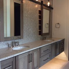 Master Bath in Hickory with Morel Stain Cambria Darlington featuring Dura Supreme floating vanity design by Cabinet Style