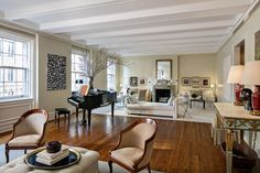 Ina Garten's NY Apt. The large living room has four windows along east 62nd Street.