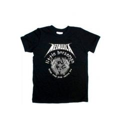 Black cotton T-shirt with Metallica little horseman print. Size: 2 years