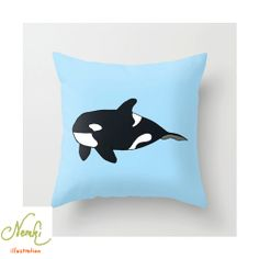 Orca Killer Whale Illustrated Throw Pillow Cushion Indoor by nemki, £19.24