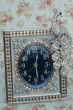 Beautiful Pink Rhinestone  & Peacock Jeweled  Linden Black Forest Vintage Alarm Clock By Debbie-Phinney, Walker, Clock, Vintage, Pink, Rhinestones, Alarm, Victorian, Linden, Black Forest, bling