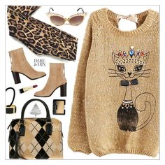 """Sweater Weather: Coastal Style"" by theseapearl ❤ liked on Polyvore featuring Tripp, rag & bone, L. Erickson, Dolce&Gabbana, NARS Cosmetics, LeopardPrint, sweaterweather, argyle, patternmixing and felinefashion"