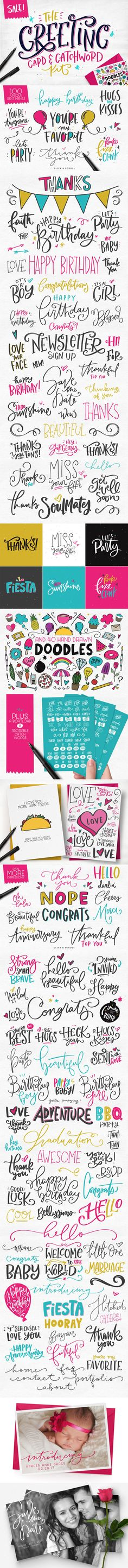 Introducing The one-of-a-kind, Greeting Card and #Catchword Kit, a totally unique, hand-illustrated treasure trove of ready-to-use catchwords, expressions, sentiments, #greetings and more! ( #vector #art #quotes #typography #inspiration #calligraphy #font #typeface #love #lettering #watercolor  )