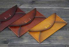 Handmade Men women long leather wallet men vintage envelope tan brown wine wallet