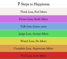 I LOVE this ... 7 Steps For Happiness Quote ... Think Less, Feel More. Frown Less, Smile More. Talk Less, Listen More. Judge Less, Accept More. Watch Less, Do More. Complain Less, Appreciate More. Fear Less, Love More. #happiness #quotes #words_of_wisdom