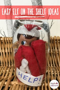 Trapped Elf on the Shelf. Try this easy Elf on the Shelf idea! Simply squeeze your little elf into a glass and turn it upside down to make it look like he's trapped! Christmas Elf, Christmas Crafts, Elf Games, Bad Elf, Awesome Elf On The Shelf Ideas, Elf On The Self, Naughty Elf, Holiday Fun, Holiday Ideas