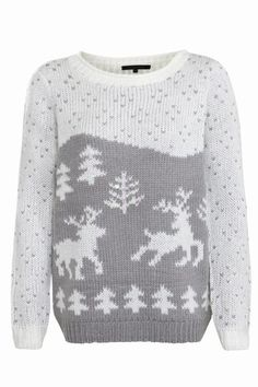 New Look - Charcoal Scenic Reindeer Knitted Jumper Cute Christmas Jumpers, Festive Jumpers, Cute Jumpers, Xmas Jumpers, Winter Jumpers, Ugly Christmas Sweater, Teen Guy Fashion, Winter Mode, Winter Warmers
