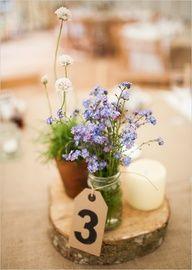 rustic wildflower centerpiece Country Garden Wedding Ideas
