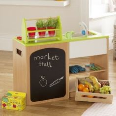 Millhouse Children's Healthy Eating Kitchen and Market Stall: Amazon.co.uk: Toys & Games