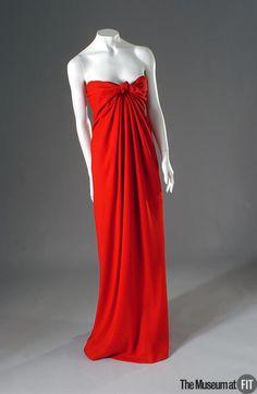 Red silk crepe evening dress, Halston, 1976.
