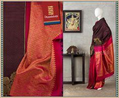 The rich brown and pink provide an exotic backdrop. Elaborate floral zari saga (replete with mango motifs) is spun on the border and the pallu. #Utppalakshi #Silksaree#Kancheevaramsilksaree#Kanchipuramsilks #Ethinc#Indian #traditional #dress#wedding #silk #saree #weaving#Chennai #boutique #vibrant#exquisit#weddingsaree#sareedesign #colorful #vivid #indian #southindian #bridal #festival #sophistication   https://www.facebook.com/Utppalakshi/   Contact: 097899 37149