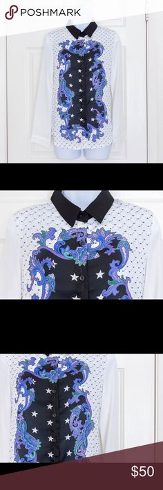 """White Buttondown with Purple Panel Design White Buttondown with Purple Panel Design  One size  Measures 15"""" across shoulders 