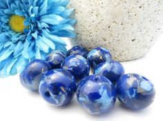 Faux Lapus Lazuli Polymer Clay Beads by NeeNeeReeBeads on Etsy