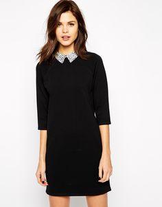 Warehouse Woven Collar Shift Dress! Now on http://ootdmagazine.com/store/product/warehouse-woven-collar-shift-dress/ #fashion