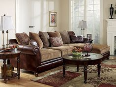 SANDERS - OLD WORLD FAUX LEATHER & CHENILLE SOFA COUCH SECTIONAL SET LIVING ROOM