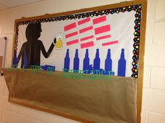Alcohol awareness board with 3D bar & alcohol facts! #reslife