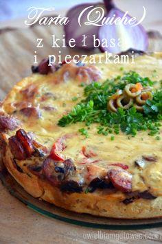 Tarta (Quiche) z kie? i pieczarkami Kielbasa, Quiche, South Beach Diet, Pizza, Polish Recipes, Creative Food, Hamburger, Food And Drink, Cooking Recipes