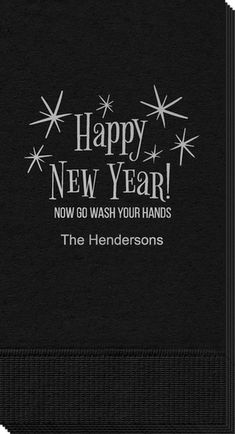 Happy New Year Wash Your Hands Guest Towels