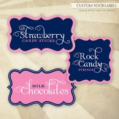 CUSTOM Color - PRINTABLE Food Labels - Scalloped (Pink and Navy)- would get these in bright colors to lable the fruit Pink Candy Buffet, Candy Buffet Tables, Dessert Table, Candy Labels, Food Labels, Candy Jars, Fruit Party, Party Party, Candy Shop
