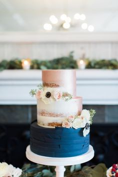 Modern rose gold and navy blue semi naked cake by Frost It Cakery. Photo by Jose Alvarado