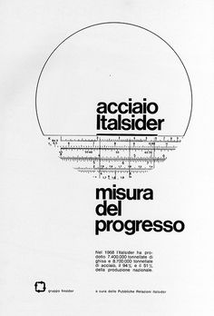 Advertising – Magazine Ad – Italsider (Italy) in Typography Typography Layout, Graphic Design Typography, Graphic Design Illustration, Lettering, Poster Design, Poster Layout, Print Layout, Amsterdam Museum, 1960s Advertising