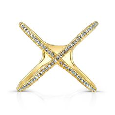 14KT Yellow Gold Diamond X Ring