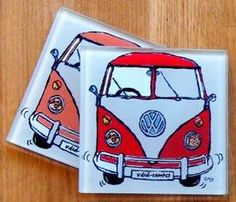 Camper van glass coaster - Orange & Red from ajpcreations.com