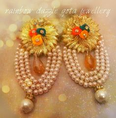 Gota flower earrings with pearls. Rainbow Dazzle Gota Jewellery. A fusion of traditional and contemporary.
