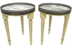 Marble-Top Accent Tables, Pair
