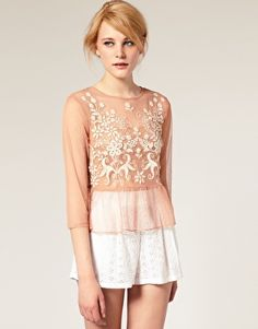 Embroidered Tiered Hem Top from Asos.com. Originally $59.61, now on sale for $17.88. -- love this but my boobs are too big to wear sheer things like this :/