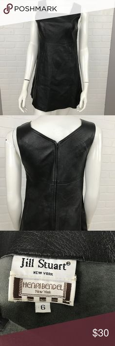 Leather Jumper Made in the USA Black 6 Dress Apron BRAND                    :Jill Stuart NY - Henri Bendel NY SIZE                 :Women's 6 STYLE                 :Dress - Jumper COLOR                 :Black MATERIAL              :Leather MEASUREMENTS :Chest 16 Condition               :Gently Worn Inventory                :MQ122 B5 Jill Stuart NY - Henri Bendel NY Dresses
