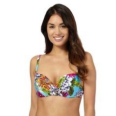 2f2374272d Beach Collection Aqua tropical print bikini top