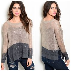 """LAST ONE This is such a beautiful sweater in a color block of light brown and gray with sequins. It is lightweight relaxed fit and features long sleeves, ribbed trim all over and two tone color scheme with side slitted hem.  So so pretty. 100% polyester. L23"""" B21"""" W21"""".  S (0) M (2) L (0) Please comment size needed below.  PLEASE DO NOT BUY THIS LISTING. Allow me to make your separate listing for you or help you make a bundle ❤️.  NO PAYPAL NO TRADES. Price is FIRM unless bundled. Sweaters"""