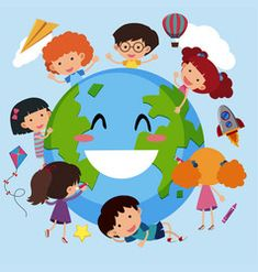 Children running around the earth with flag Vector Image Kids Reading Books, Kids Story Books, Daycare Logo, Earth Drawings, Page Borders Design, Leader In Me, Cute Cartoon Girl, Flag Vector, Kids Logo