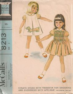 Cute #vintage girls' #sewing #pattern featuring #Dachshund applique!