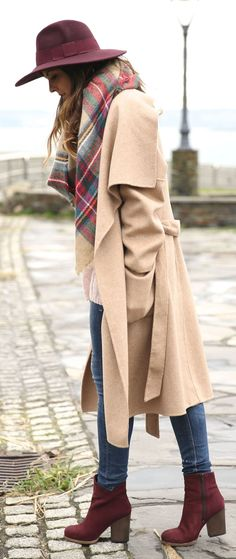 Camel Wide Lapel Coat