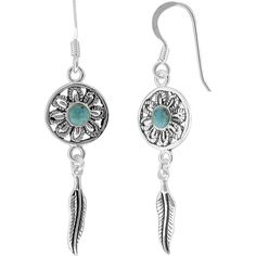 Jewel Exclusive Sterling Silver Reconstituted Turquoise Flower w/... ($15) ❤ liked on Polyvore featuring jewelry, earrings, multi, earrings jewelry, sterling silver turquoise earrings, sterling silver jewelry, green turquoise earrings and sterling silver feather jewelry