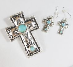 COWGIRL bling CROSS Spanish Indian Western Turquoise Gypsy pendant set Magnetic  #icon