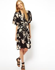 Obi Wrap dress in Oriental Bird print