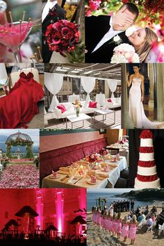 Won't you be my valentine wedding inspiration from Lucky in Love Wedding Planning Blog from BanquetEvent.com. Deep red, dark pink and light pink color inspiration