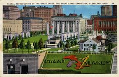 Floral reproduction of The Great Lakes, The Great Lakes Exposition, Cleveland, Ohio 1936