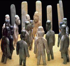 "Offering 4, La Venta, Mexico. Olmec Culture, c. 900-400 bce. Jade, greenstone, granite and sandstone. Height of figures 6 1/4"" to 7"", Museo Nacional de Antropologia, Mexico City."