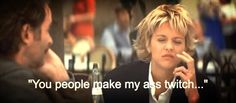 Great line!!!  FRENCH KISS ~ You have to pay attention to his face when Meg Ryan says this line - Kevin almost lost it