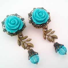 5/8 inch 16mm Electric Blue Climbing Roses Dangly by Glamsquared, $31.00