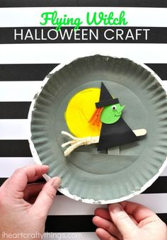 This playful paper plate Halloween craft makes an awesome Halloween kids craft, Halloween witch craft and paper plate crafts for kids.