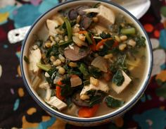 Chicken, Collard & Kamut Soup! Whole grains + leafy greens in a easy slow cooker soup