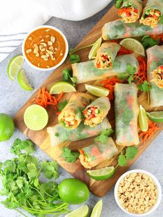 Shrimp Pad Thai Spring Rolls Recipe & Image - spring rolls on cutting board with dipping sauce Healthy Spring Rolls, Thai Spring Rolls, Shrimp Spring Rolls, Shrimp Rolls, Chicken Spring Rolls, Seafood Pasta Recipes, Prawn Recipes, Entree Recipes, Fish Recipes