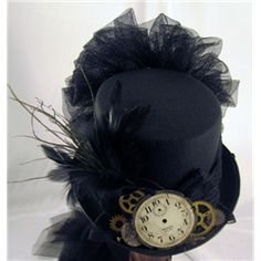 Dark Knight Armoury - Black Clock Face Steampunk Riding Hat with Netting