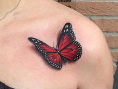 Meaning of butterfly tattoos and pictures of cute and small Butterfly Tattoo designs and images for on the wrist, shoulder, foot or lower back. Realistic Butterfly Tattoo, Butterfly Tattoo Cover Up, Butterfly Tattoo Meaning, Butterfly Tattoo On Shoulder, Butterfly Tattoos For Women, Butterfly Tattoo Designs, Red Butterfly, Tattoo Flowers, Shoulder Tattoos